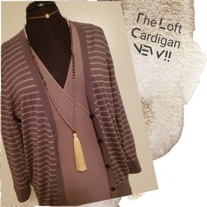 """The Loft"" Striped Button Down Cardigan"